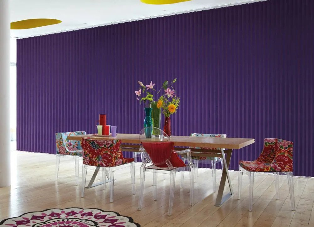 Purple vertical blinds in a modern dining room