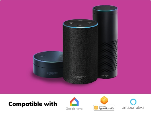 Black amazon echo's on a pink background