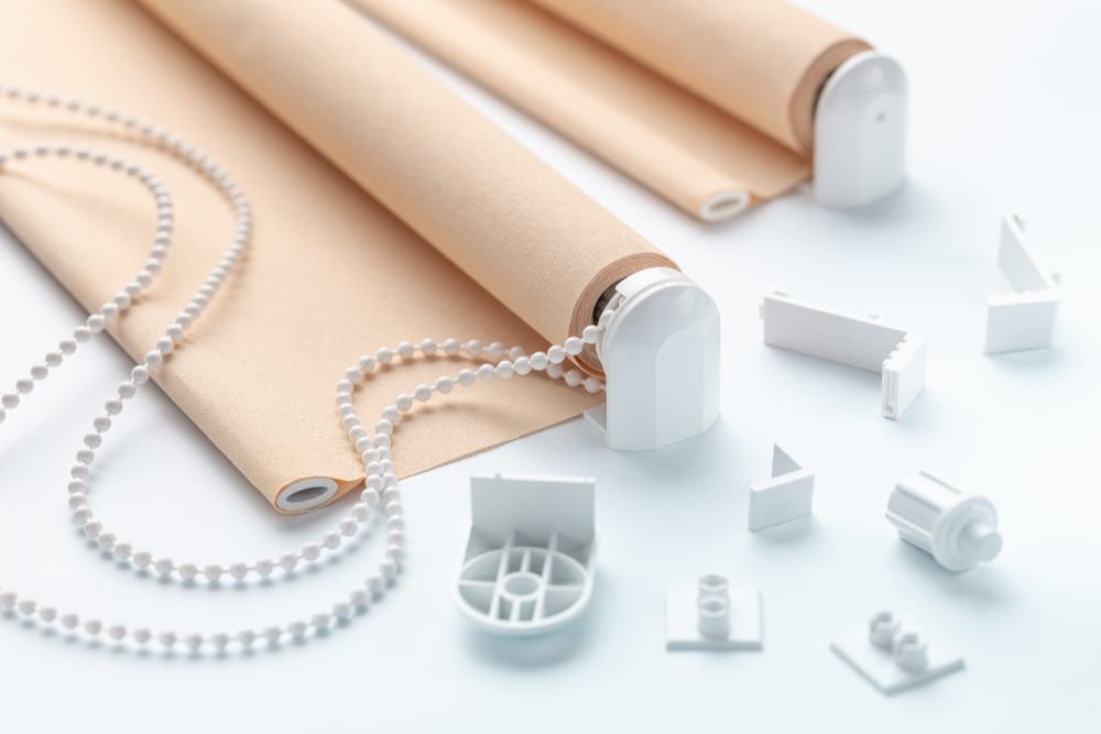 Beige roller blinds and accessories