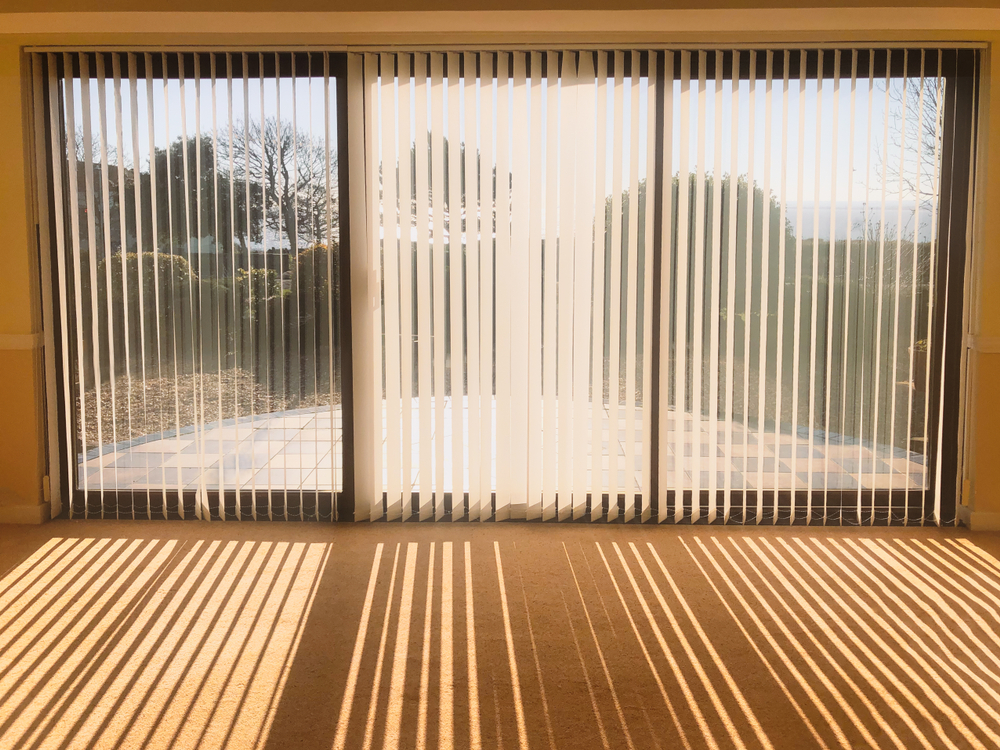 Vertical blinds on conservatory glass doors