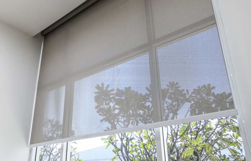 Grey, perfect fit roller blinds on large window