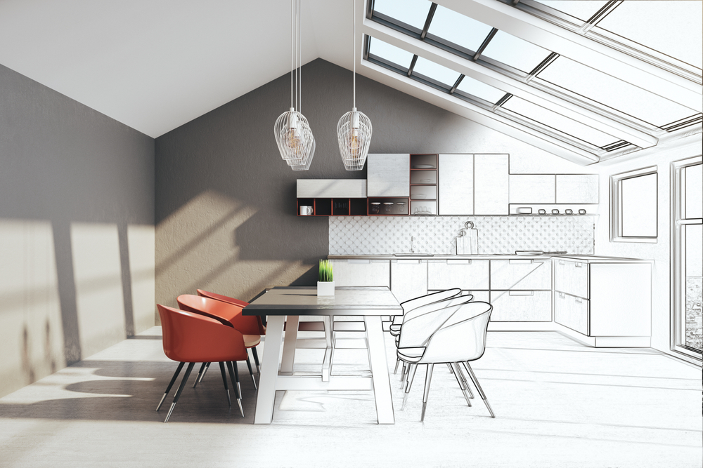 The negative effect of skylight sunshine on furniture. Half photograph/half drawing of a kitchen space with large skylights shining onto the kitchen island