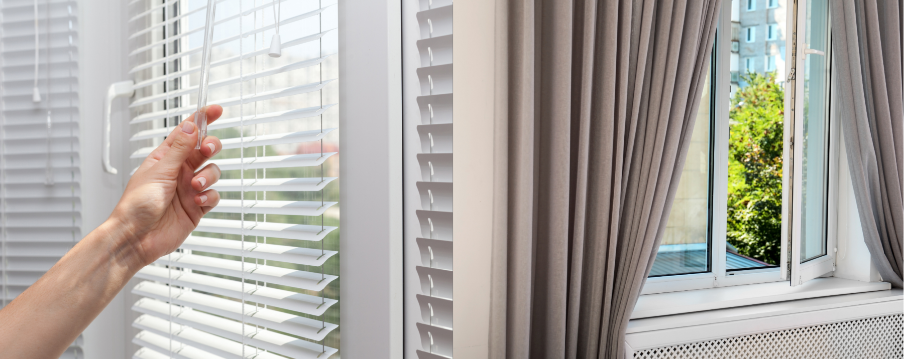 An image of a person opening their blinds and a set of curtains that are open slightly.