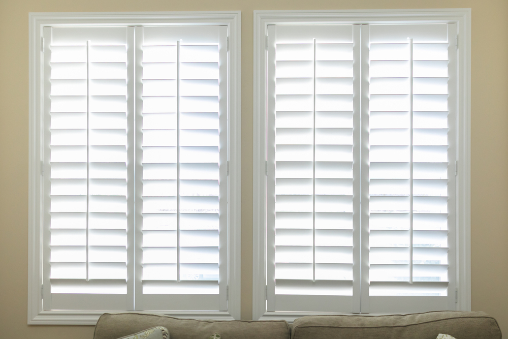 A pair of white Plantation Shutters
