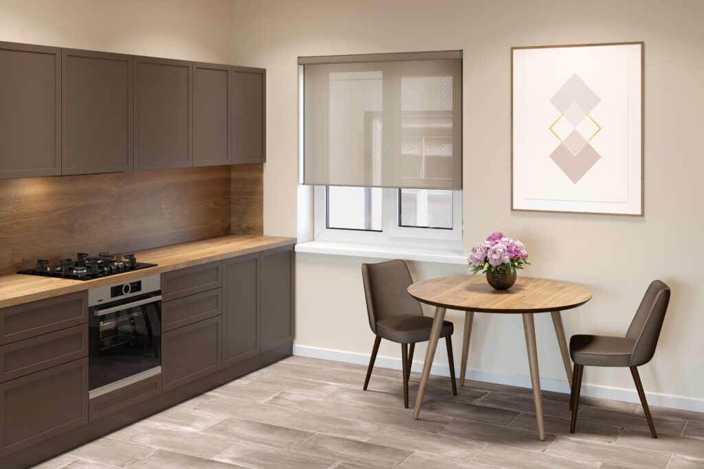 motorised blinds in a beautiful modern kitchen